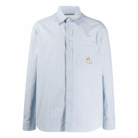 Gucci Men's 'Embroidered Logo Patch Pinstripe' Shirt